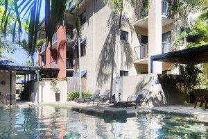 Heated salt water pool, barbeque and loungers at Nautilus Holiday Apartments, Port Douglas